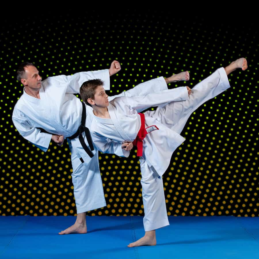 Martial Arts Lessons for Families in Orlando FL - Dad and Son High Kick