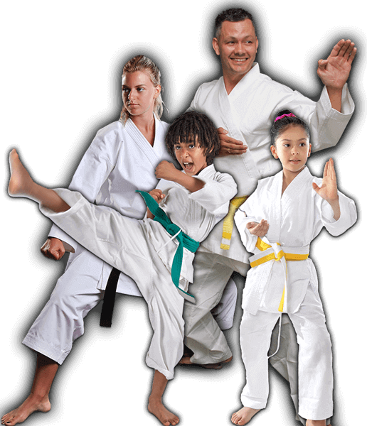 Martial Arts Lessons for Families in Orlando FL - Green Belt Kid Adult Group Banner