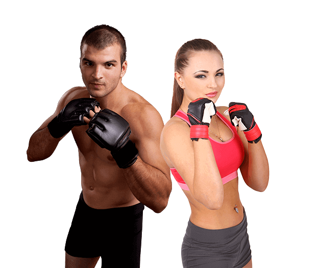 Mixed Martial Arts Lessons for Adults in Orlando FL - Hands up Fitness MMA Man and Woman Footer Banner