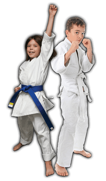 Martial Arts Lessons for Kids in Orlando FL - Happy Blue Belt Girl and Focused Boy Banner